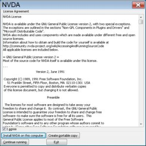 "צילום מסך ""License Agreement ... Instal NVDA on this computer"""