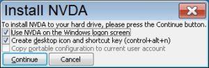 """צילום מסך popup window """"Install NVDA"""" continue"""